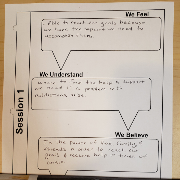 "One family's ""I Feel, I Understand, I believe"" handout."