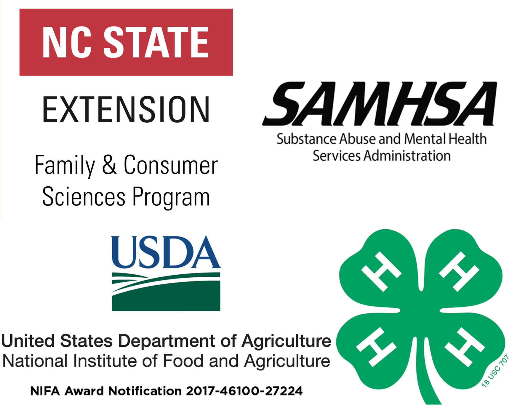 NCSU Extension FCS, SAMHSA, USDA, and 4H logos