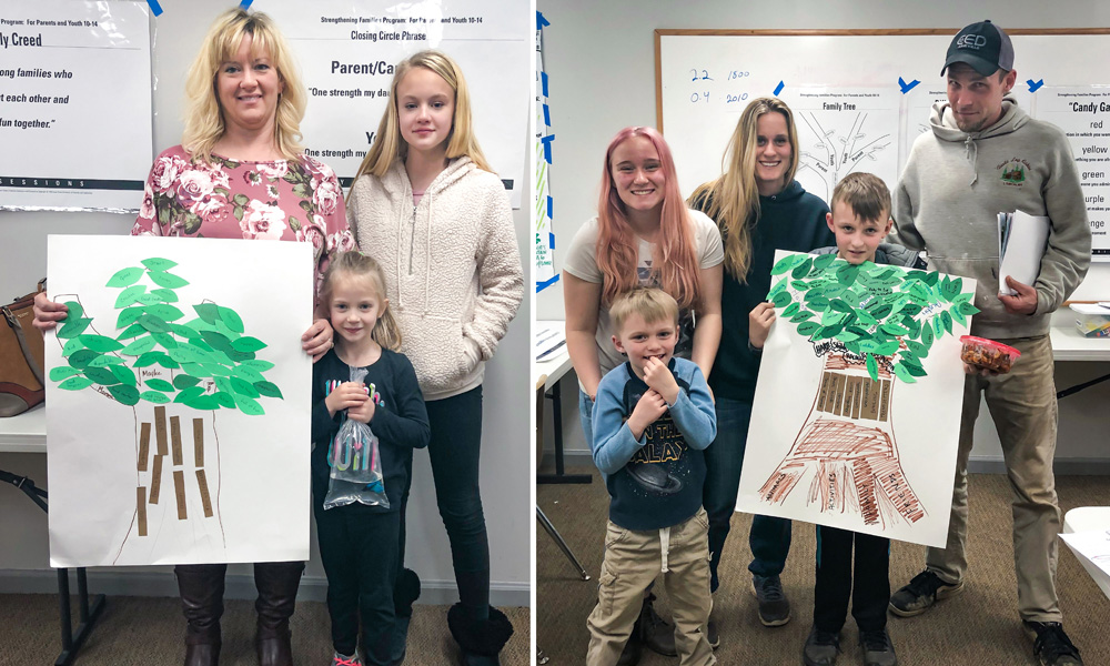 Families with family strengths trees they created together