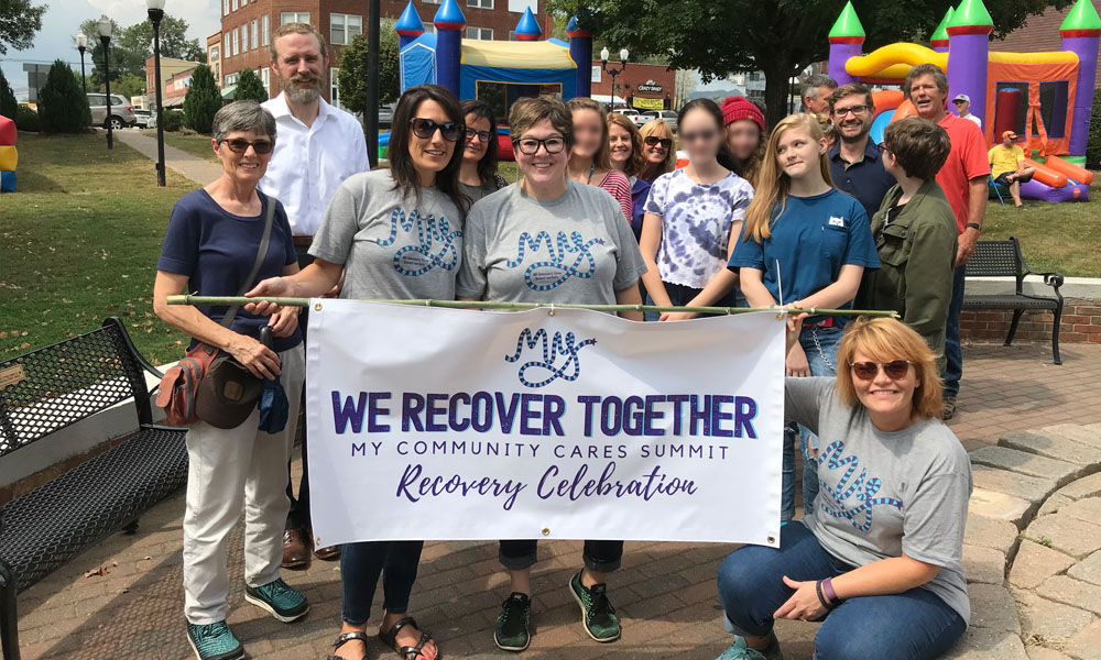 A group of community members at the end of the Recovery Walk