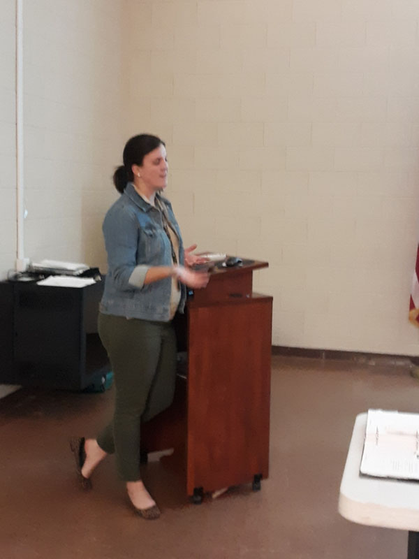 Kerrie Timmerman from the Pender Co. Health Dept conducting the caregiver session.