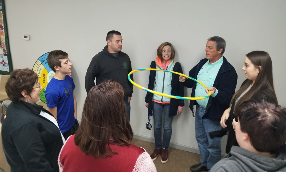 "family and facilitators playing the ""cooperation"" game"