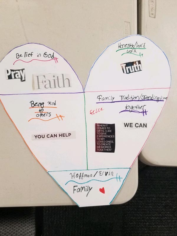 Pictures of heart-shaped family shields constructed by the families.