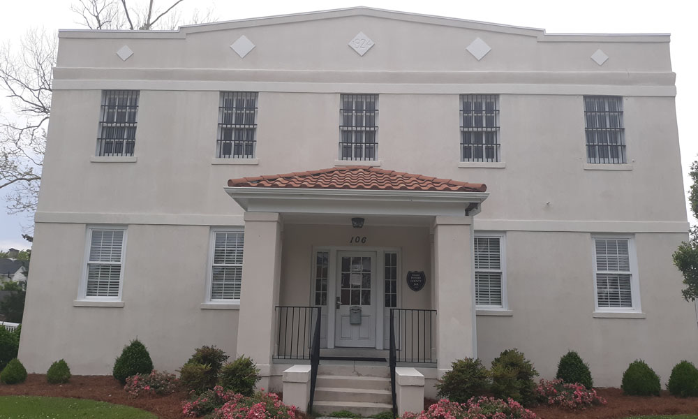Historic old jail site houses the offices for Pender County Tourism across from the beautiful Burgaw courthouse downtown.
