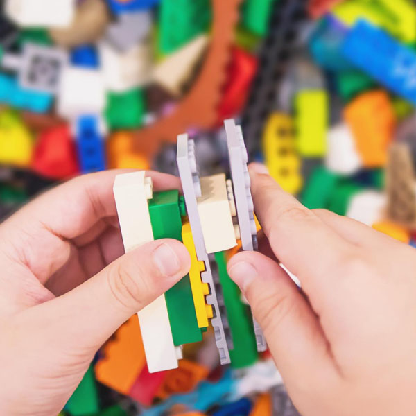 Lego block structure being built