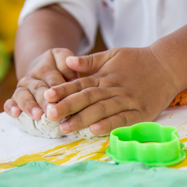 little hands creating with Play Doh