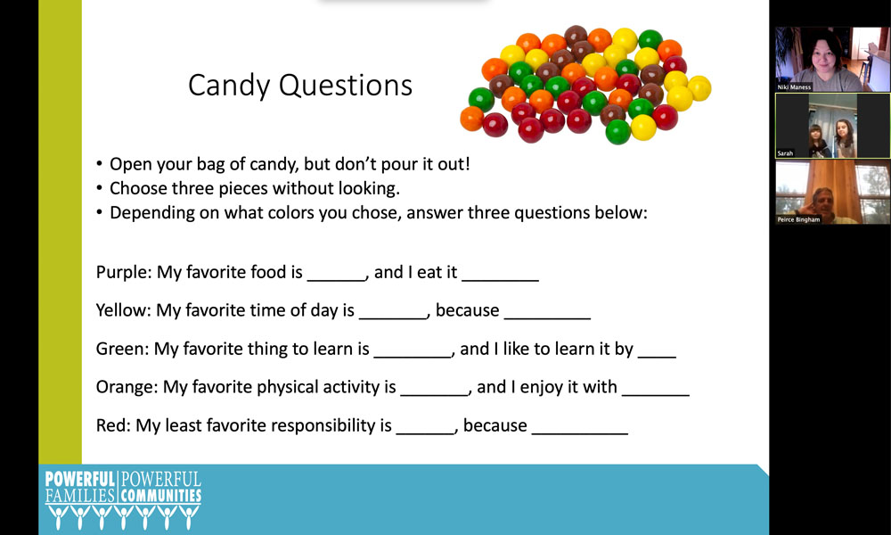Playing the candy game with our youth participants