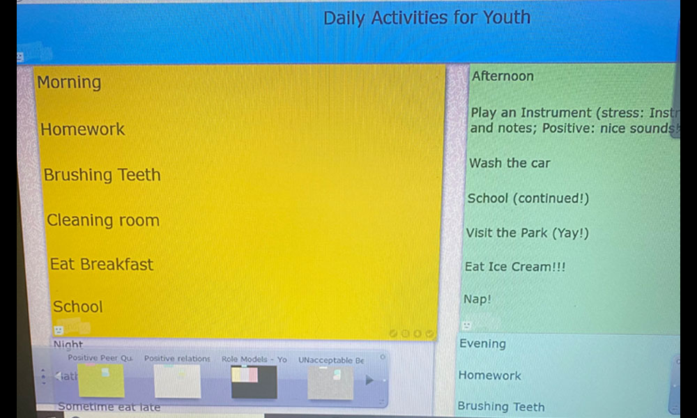 daily activities board youth constructed