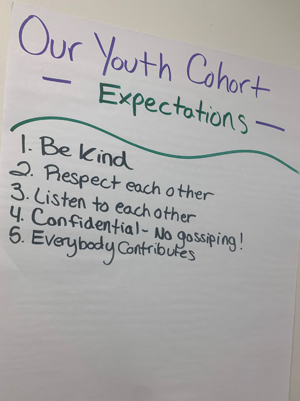 A list of expectations the youth created to follow while meeting.