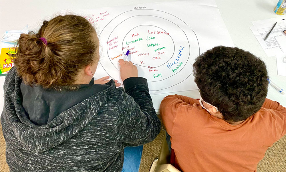 Participants working on their circle activity